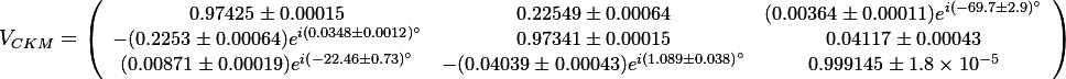 {\small V_{CKM}=\left(\begin{array}{ccc} 0.97425 \pm 0.00015 & 0.22549 \pm 0.00064 & (0.00364 \pm 0.00011)e^{i(-69.7 \pm 2.9)^\circ}\\ -(0.2253 \pm 0.00064)e^{i( 0.0348 \pm 0.0012)^\circ} & 0.97341 \pm 0.00015 & 0.04117 \pm 0.00043 \\ (0.00871 \pm 0.00019)e^{i(-22.46 \pm 0.73)^\circ} & -(0.04039 \pm 0.00043)e^{i( 1.089 \pm 0.038)^\circ} & 0.999145 \pm 1.8\times 10^{-5}\end{array}\right)}